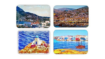 Greek Island Collection #1, Set Of 4 Large Placemats