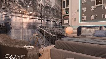"""Интерьер комнаты в частном доме для молодого человека: """"BIG CITI LIFE"""""""