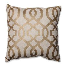 Pillow Perfect, Inc.   Geometric Throw Pillow, Gold And Linen   Decorative  Pillows