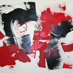 Donna B Fine Art - Red & Black I Abstract By Donna B - Contemporary abstractive original painting, by Donna B Fine Art. textured and organics in red, black and white.