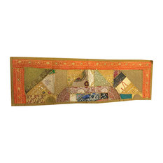 Mogul Interior - Consigned Antique Fabric, Sari Patchwork Sequin Embroidered Tapestry - Table Runners