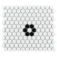 "SomerTile Metro Hex 10-1/4""x11-3/4"" Porcelain Mosaic Tile"