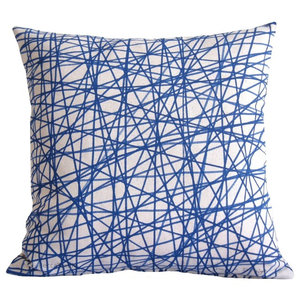 Blue Scribble Cushion, 40x40 Cm