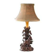 Sculpture Table Lamp Sitting Dog Rustic Hand Painted Made in USA OK