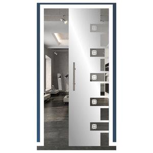 """Glass Pocket Sliding Door With Modern Sandblasting Etched Design, 28""""x80"""""""
