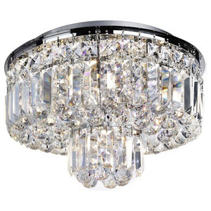 Vesuvius Flush Ceiling Light With Crystal Trim and Ball Drop