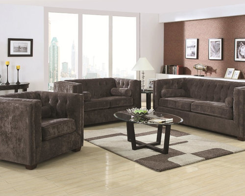 Coaster 3 Pieces Alexis Charcoal Transitional Chesterfield Sofa Set - Living  Room Furniture - Living Room Set