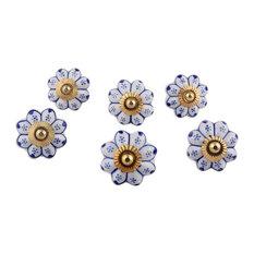 Lapis Flowers Ceramic Knobs, Set of 6