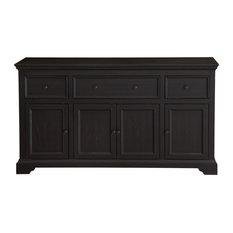 Four Door Cabinet, Antique Black