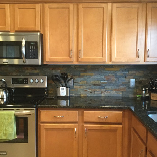 Medium Wood Kitchens: Grey Countertops And Wood Cabinets- How To Make It Work?