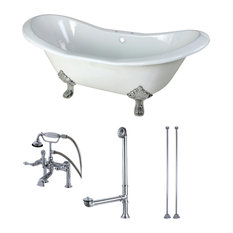 """72"""" Cast Iron Clawfoot Tub w/Faucet Drain & Supply Lines, White/Polished Chrome"""