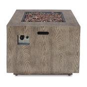 "Jasmine Outdoor Iron 33"" Square Fire Pit, 50,000 BTU, Brown Wood Pattern"