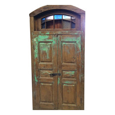 Mogul interior - Consigned Reclaimed Woods Jaipur Terrace Teak Doors, Colored Glass Indian Style - Interior Doors