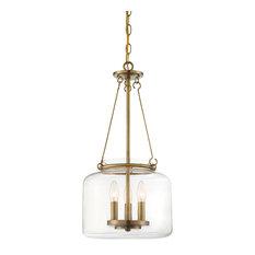 Akron 3-Light Pendant, Warm Brass