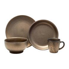 tablescapes teton 16 piece dinnerware set rubbed gold dinnerware sets - Modern Dinnerware