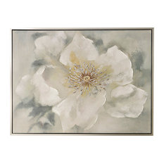 """White, Gray, and Yellow Botanical Hand Painted Canvas Art, Silver Frame, 48""""x36"""""""