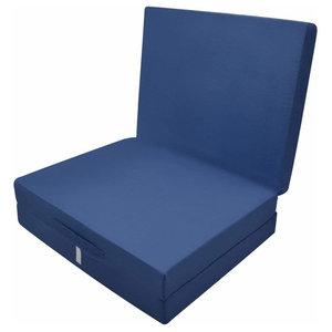Futon Mattress in Polyester, Simple Modern Design, Foldable, Dark Blue