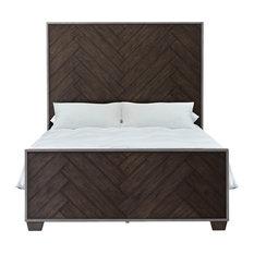 Modern Farmhouse Metal Frame Dark Oak Bed, Queen