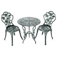 Costway Patio Furniture Cast Aluminum Rose Design Bistro Set Antique Green