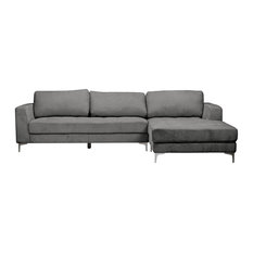 Baxton Studio - Agnew Contemporary Microfiber Right Facing Sectional Sofa, Gray - Sectional Sofas