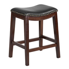 """26"""" High Backless Cappuccino Wood Counter H Stool With Black Leather Seat"""