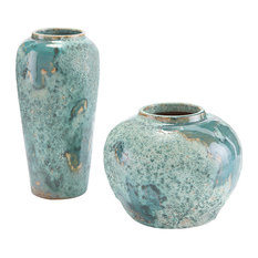 John Richard Coastal Beach Set Of Two Sea Foam Vase