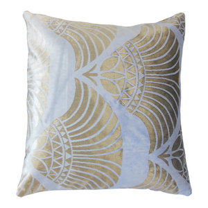 The Pillow Collection Picabia Ikat Bedding Sham Gold Silver Queen//20 x 30