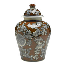 """Brown And Gray Floral 10"""" Ginger Jar"""