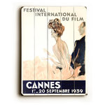 Artehouse - 1939 Cannes Film Festival Wooden Sign, 20x14 - Wooden wall d̩cor perfect for your home or office remodel!  All signs are ready to hang, all you need is a space on your wall.