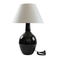 Retro Glass Vase Table Lamp, Black