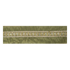 "4""x5 yd. Gold Sequin Trim Olive Wired Ribbon"