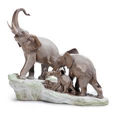 Lladro Elephants Walking Figurine