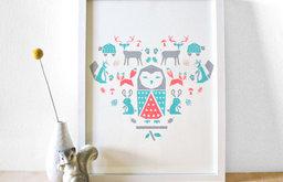 Owl Friends Screenprint Poster Nursery Art by Sass&Peril