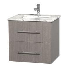 """Centra 24"""" Gray Oak Single Vanity, Countertop, Undermount Square Sink, No Mirror"""