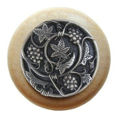 Grapevine Natural Wood Knob, Clear Finish With Antique-Style Pewter