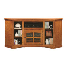 "Eagle Furniture 63"" Oak Ridge Thin Corner Entertainment Console, Medium Oak"