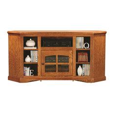 Eagle Furniture 63-inch Oak Ridge Thin Corner Entertainment Console Medium Oak