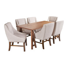 7-Piece Sandor Farmhouse Dining Set With Fabric Dining Chairs, Natural