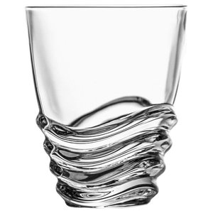 Rounded Crystal Whisky Glasses With Wave Design, Set of 6