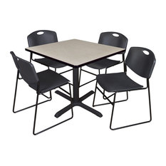 Cain 36-inch Square Breakroom Table- Maple & 4 Zeng Stack Chairs- Black