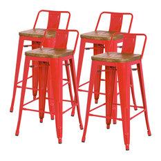 Metropolis Low-Back Counter Stools Set Of 4 Red