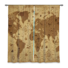 Old world map curtains and drapes houzz for Old world curtains and drapes