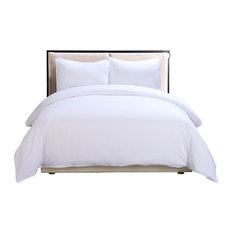 Lotus Home Water and Stain Resistant Duvet Cover Mini Set, White, Full/Queen