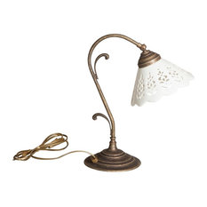Cast Brass and Perforated Ceramic Adjustable Table Lamp