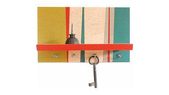 Geometric Modern Functional Art Wall Mount Shelf Key Hooks : RETRO