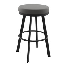 Swice Swivel Stool, Textured Black and Light Cold Gray, Counter Height