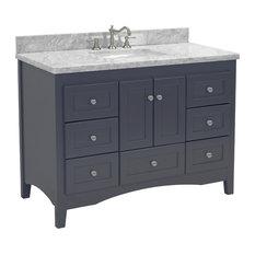 "Abbey Bath Vanity, Top: Carrara Marble, Base: Charcoal Gray, 48"""