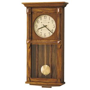 Howard Miller Contemporary Dual Chime Oak Pendulum Wall Clock, Ashbee Ii