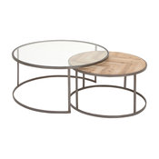 Rustic Reflections Metal Wood and Glass Coffee Tables, 2-Piece Set