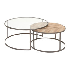 Contemporary Iron Wood And Glass Round Nesting Coffee Tables 2-Piece Set